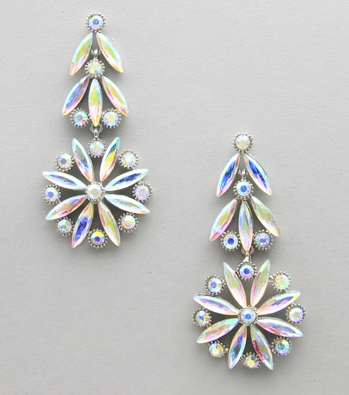 Large Ab Crystal Drop Pageant Earrings