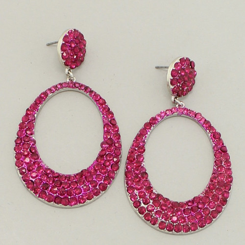 Prom Earrings Fuchsia Crystal Hoop 2 5 Fusrd
