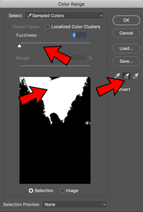 Remove background in Photoshop with Color Range, and the Fuzziness slider