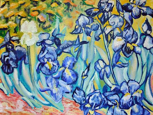 Blue Irises inspired by Van Gogh