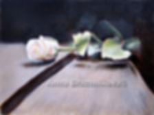 white rose oil painting Kyiv Anna Brazhnikova gift present flemish interior still life flowers drawing