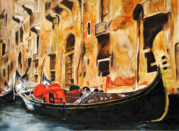 2 gondolas in Venice