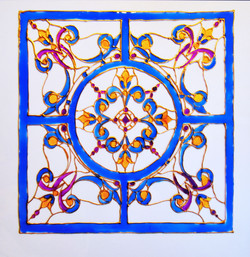 Square stained glass painting