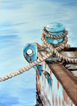 Painting of sea wharf with rope on the shore