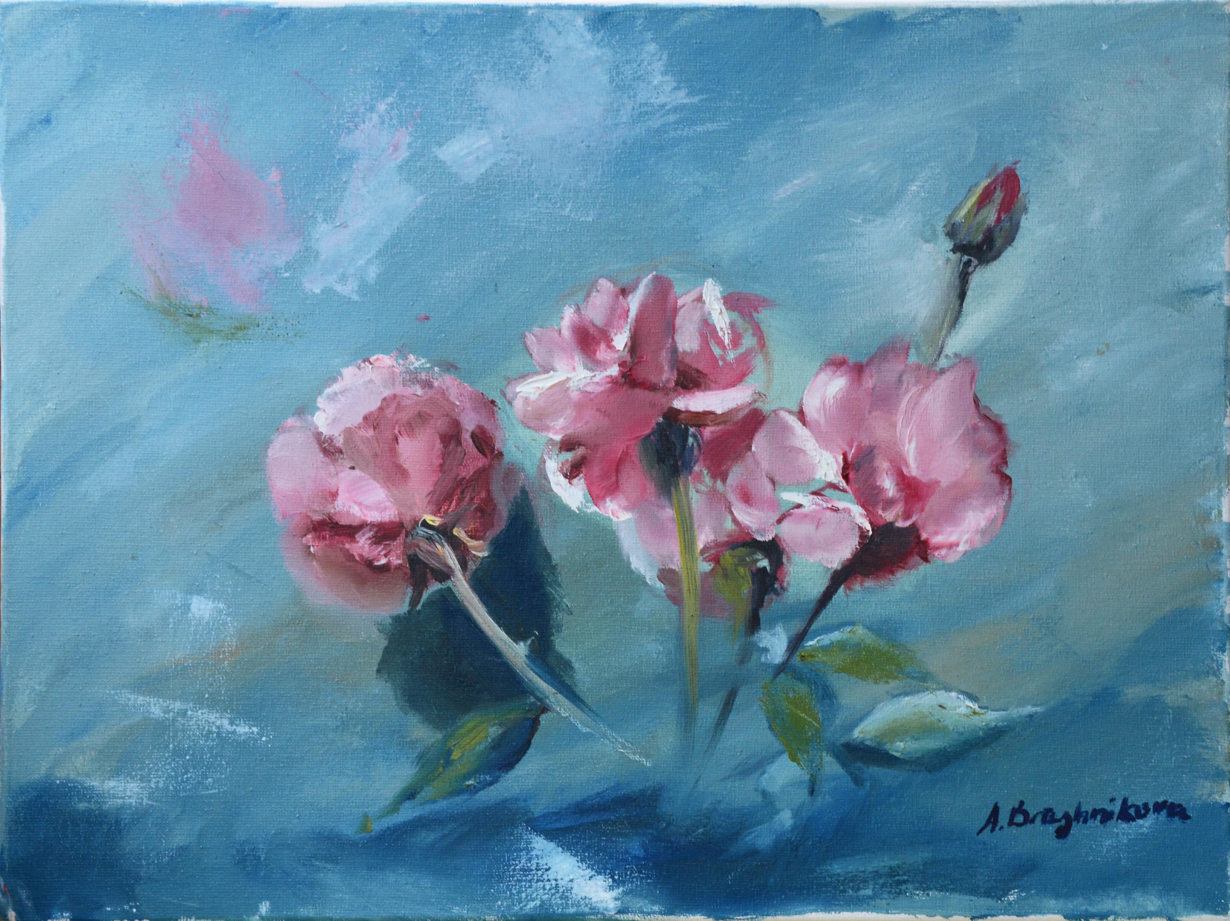 Roses on blue background