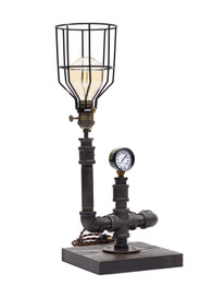 """11"""" Square - 6/4"""" Thick Sandblasted Ash Base Tobacco Finish Brass Light Socket Fabric Cable Antique Style Plug Pressure Gauge Bulb Cage Bulb Not Included  Measures approx - 11""""W x 11""""D x 16""""H"""