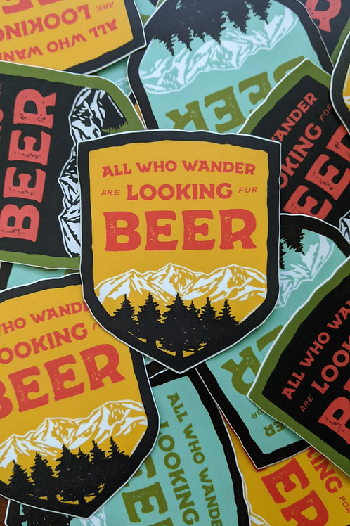 Wander for Beer Shield Sticker