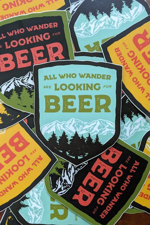 Wander for Beer Shield Sticker