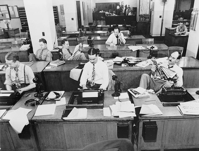 The New York Times newsroom before cell phones and computers in 1942