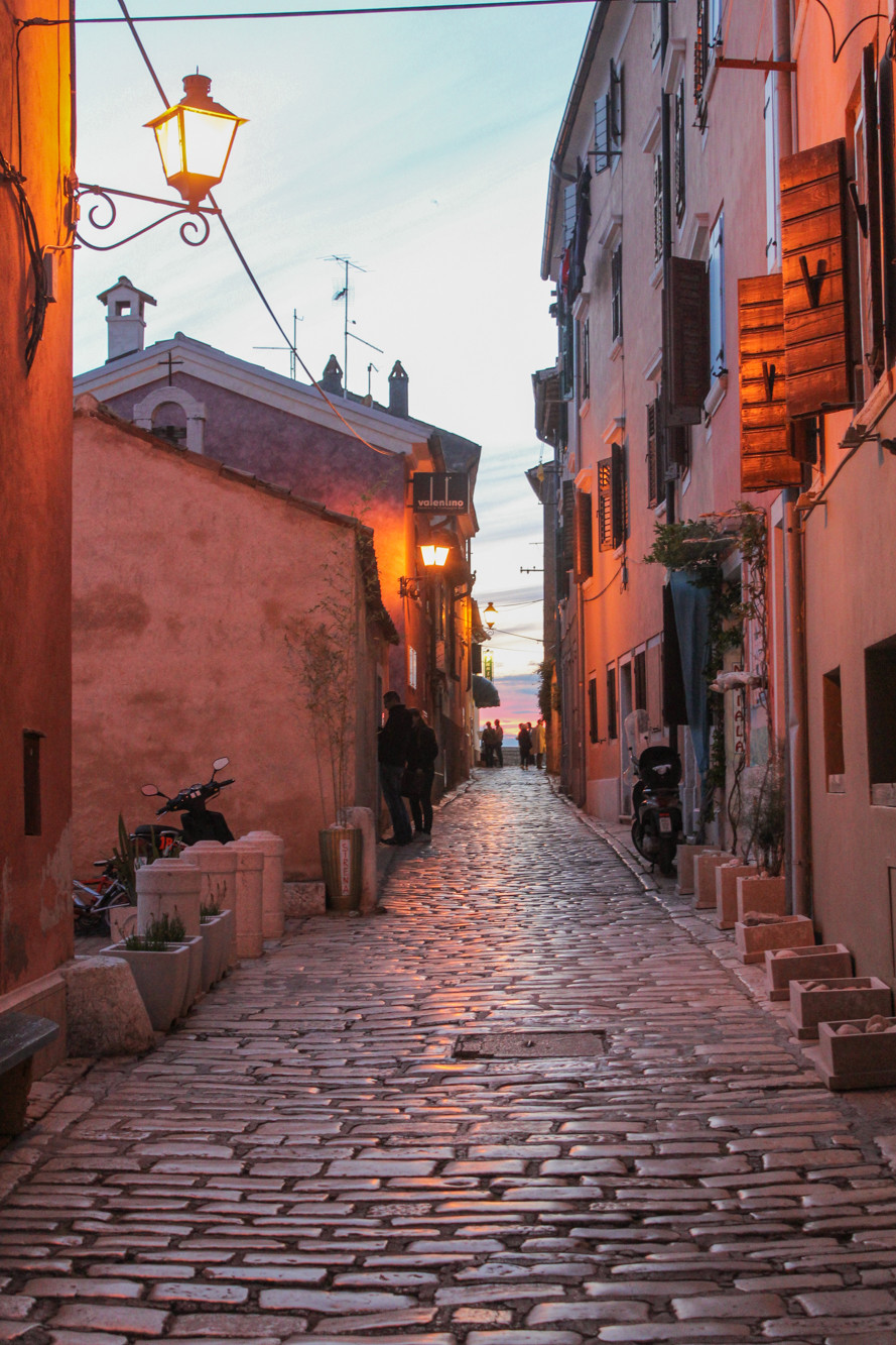 Evening walk in Rovinj, Croatia