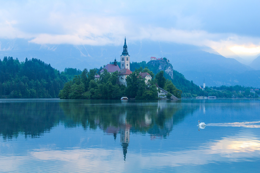 Mornings at Lake Bled, with Bled Castle in the background