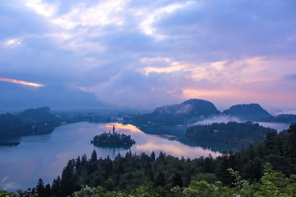 Sunrise hike view from Ojstrica viewpoint at Lake Bled