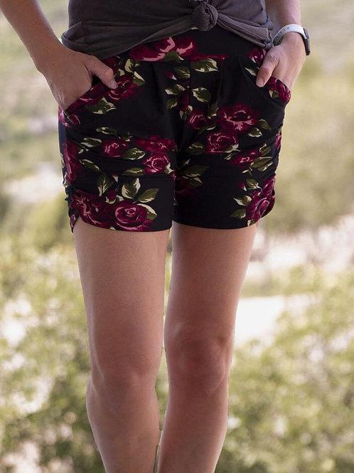 Black floral signature shorts