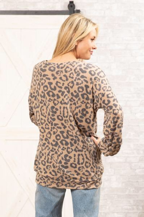Brushed soft animal print top