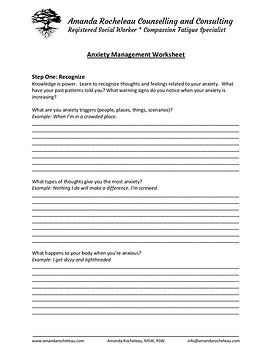 Anxiety Management Worksheet