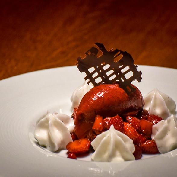 Red fruit tartare, Island strawberry ice cream - rice milk and vanilla foarm