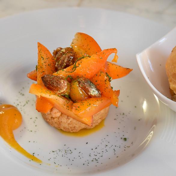 Seasonal apricot short bread, caramelized almond, basil powder
