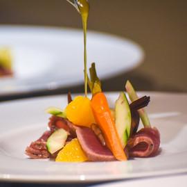 Seared Adriatic tuna - pickels and citrus oil