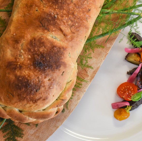 Seabass in focaccia crust, grilled seasonal vegetable