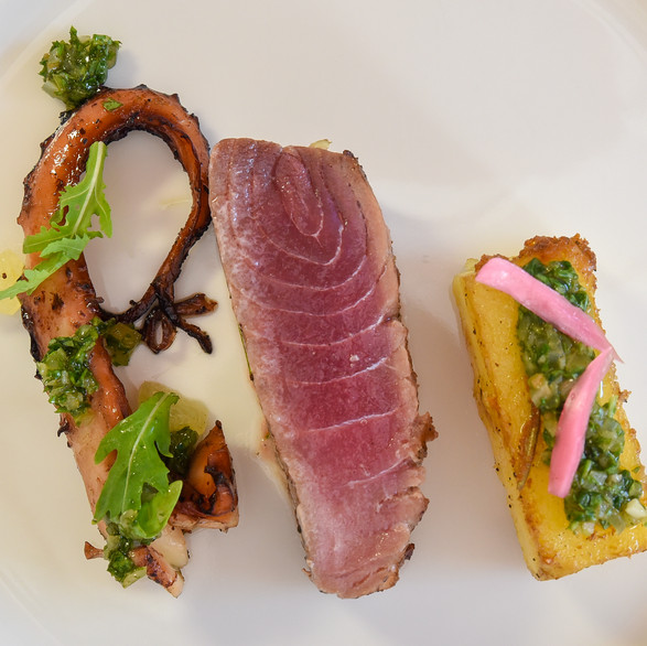 Grilled and smocked octopus, grilled bluefin tuna and roasted polenta