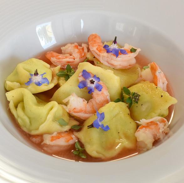 Langoustine and fresh cheese agniolotti, burach flower