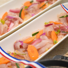 Amberjack tartare, pickeled vegetable
