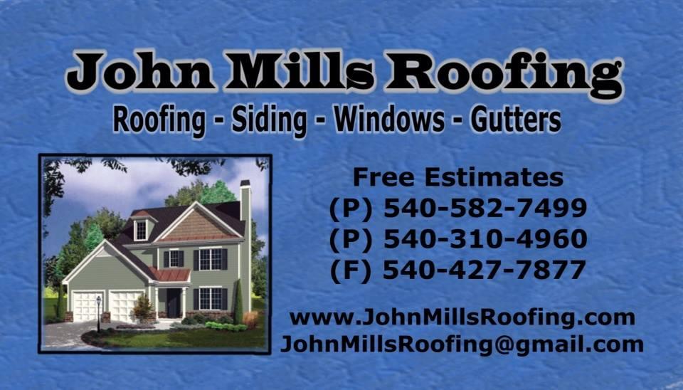 John Mills Roofing 540 582 7499 Fredericksburg Roofing