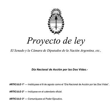 Proyecto de Ley Día Nacional de accción por las dos vidas