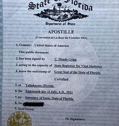Апостиль США Флорида