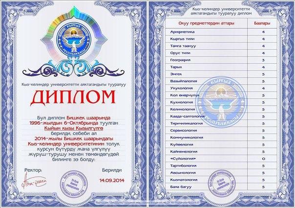 Перевод диплома полученного в Киргиз