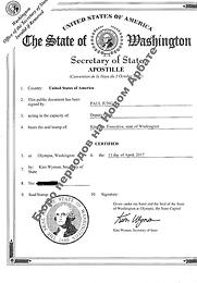 Апостиль США Вашингтон