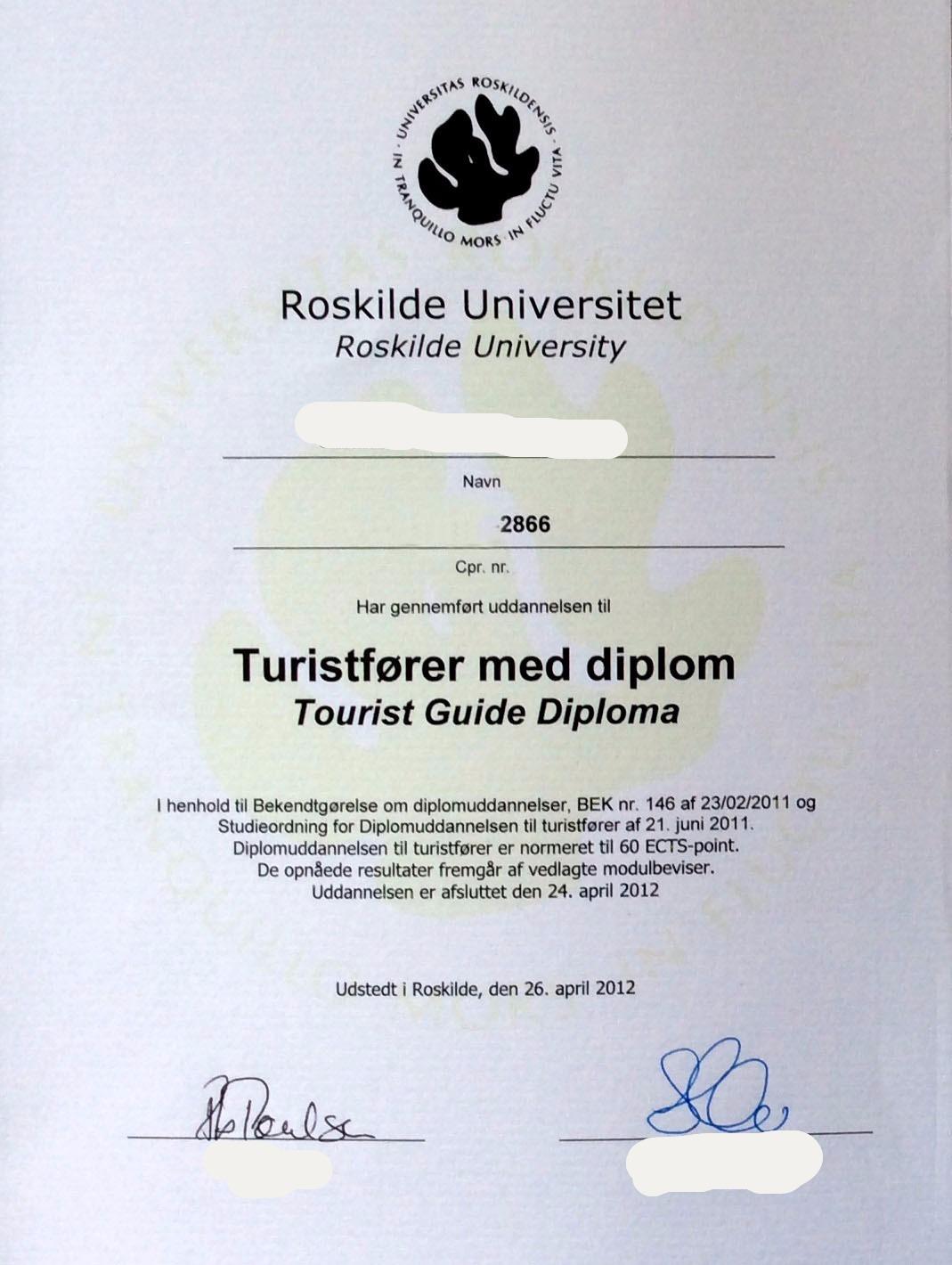 Перевод диплома полученного в Дании