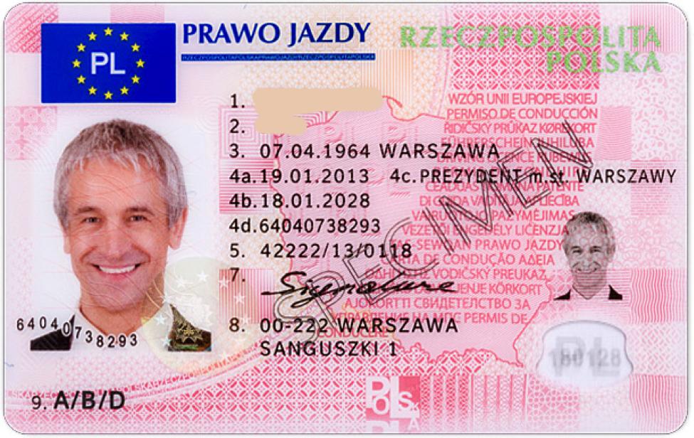 Водительское удостоверение Польша