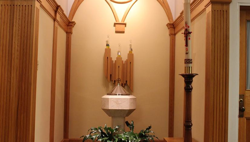 Baptismal font & Holy Oils