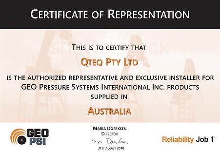 GEO PSI Certificate of Representation -