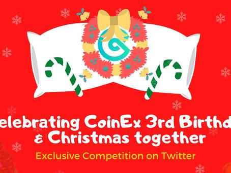 تحتفل CoinEx بالذكرى السنوية الثالثة والكريسماس ايضاً !! #Giveaway