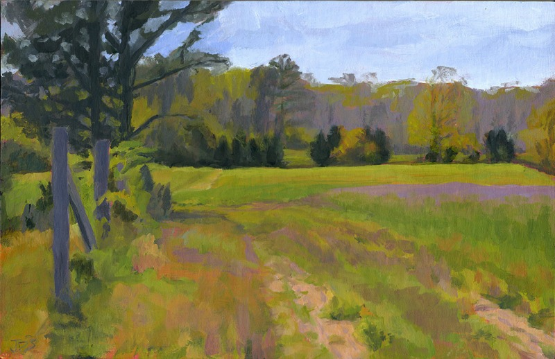 Morning Glory Corn field with Winter Rye in the Spring West Tisbury, Plein Air.j