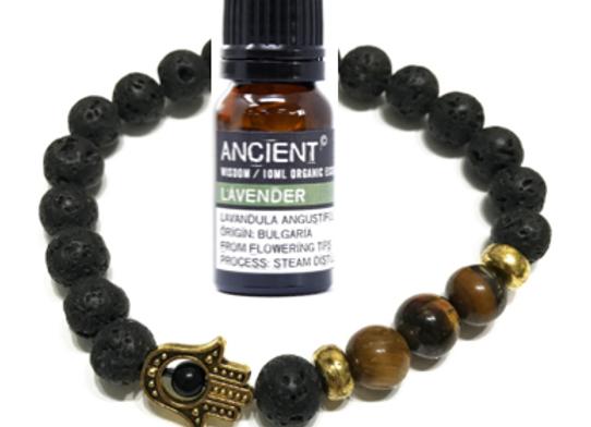 Lava Stone Bracelet & Oil Set - Hamsa Tiger Eye