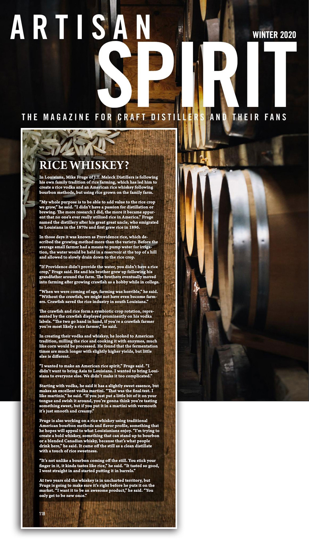Artisian Spirits Magazine (Winter 2020 issue) Written by Gabe Toth