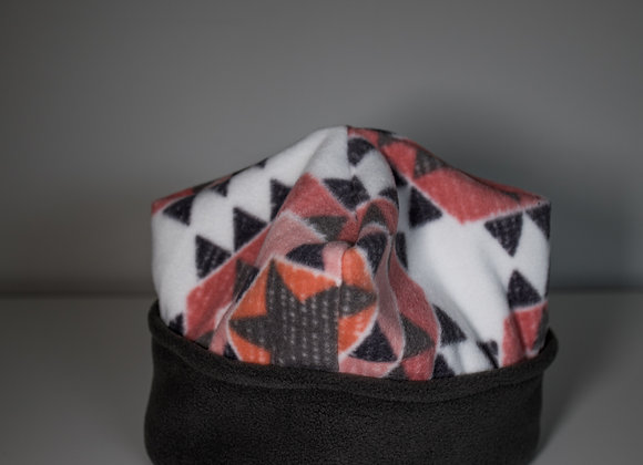 Cozy Hat - Pink Geometric & Black