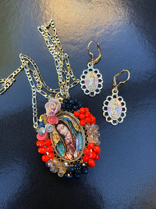 Virgensita necklace + Earrings
