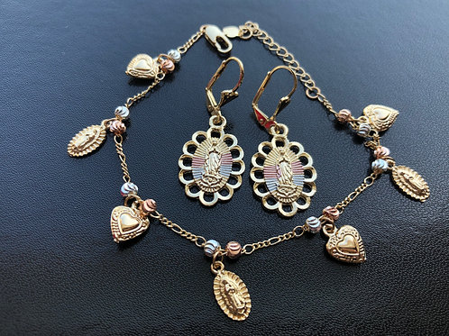 New! Virgencita with Earrings Combo