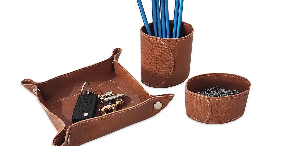 Jogo de Mesa - Porta Lápis + Porta Clips + Bandeja - Cód.: EM735