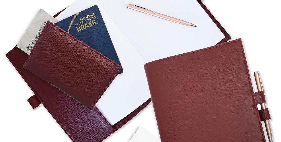 Kit de Viagem  - Porta Passaporte, Porta Cartão e Bloco de Mesa - Cód.: VK797