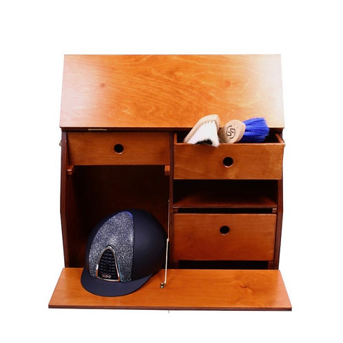 ONE equestrian wooden grooming box