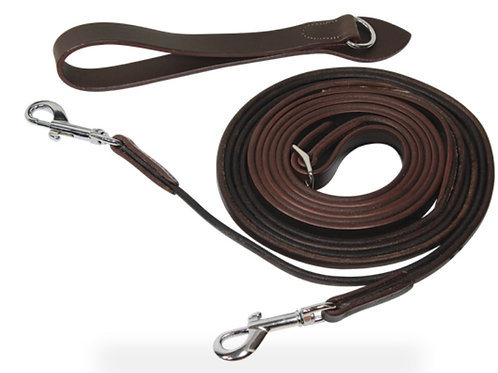 Leather draw reins with leather rope