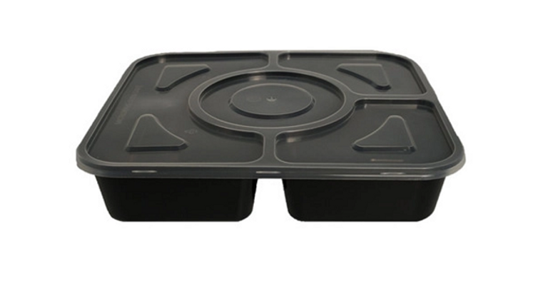 Eco friendly disposable 4 compartments lunch box with lid - 1000ml