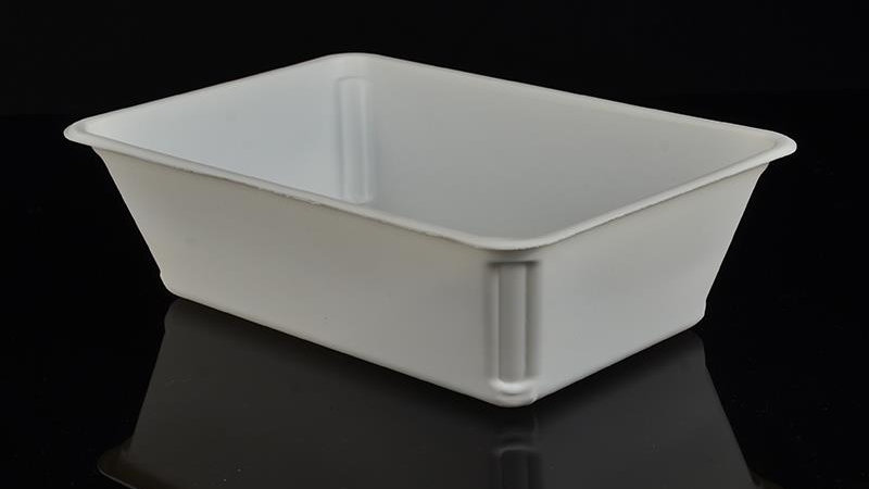 Eco friendly sugarcane bagasse food container rectangular shape