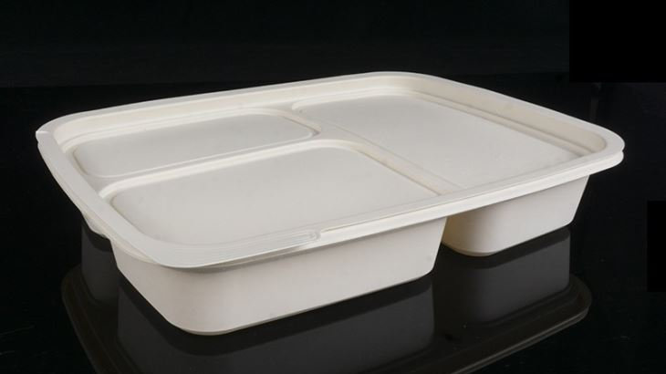 Eco friendly corn starch pulp food container with 3 compartments
