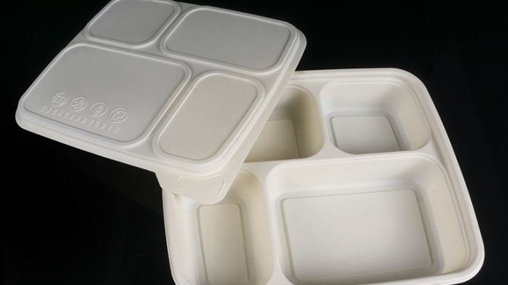 Eco friendly corn starch pulp food container with 4 compartments